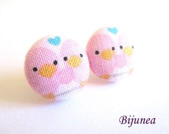 Bird earrings - Bird flower stud earrings - Bird blue flower studs - Bird post earrings sf1340