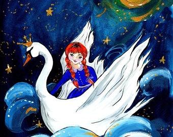 The Dreamer Print of Original Gouache Childrens Illustration