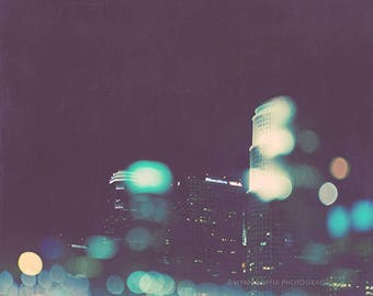 photograph, midnight blue, LA photograph, downtown Los Angeles skyline, cityscape, bokeh photography, urban wall art, Nightowl