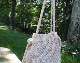 Crochet Cotton Tote Lined with Adjustable Straps Cross Body Neutral
