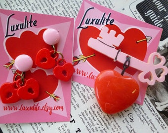 Vintage Valentine - Key to my Heart - 1940s 50s bakelite fakelite vintage style novelty key brooch and optional earrings by Luxulite