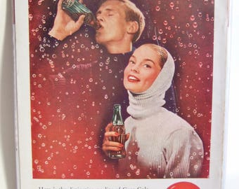 Vintage Coca Cola Advert- 'The Friendliest Drink on Earth' - 1950s Magazine Advert for Coke, Ideal for Framing