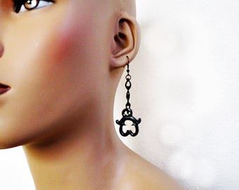 Black Resin Earrings, Black Chain, Dangle Earrings, Black Earrings, Resin and Chain, Handmade Jewelry
