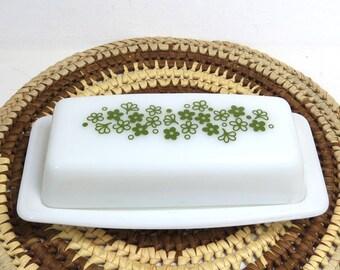 Vintage Pyrex Butter Dish/ Avocado Green Crazy Daisy Spring Blossom /Milk Glass