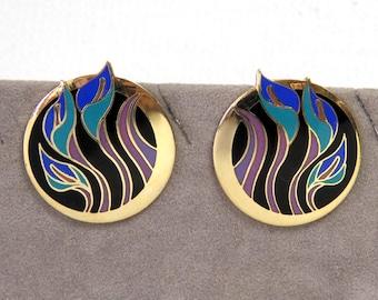 """Laurel Burch Earrings/ """"Lilies for Les"""" Purple, Teal Blue, Black Enamel Jewelry/ Pierced Post"""