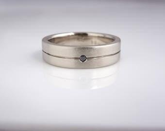 Black Diamond Channel Ring, 6mm Band, 14k palladium Gold Wedding Ring, Anniversary ring, solitaire diamond band