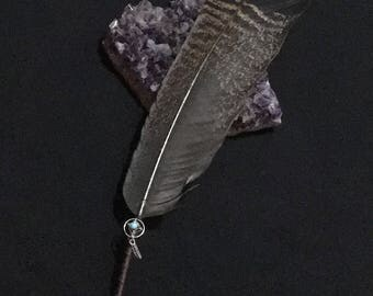 Real Wrapped Turkey Feather Smudge Fan With Tiny Silver Dreamcatcher and Wooden Beads