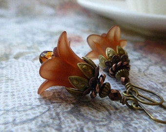 Fall Flower Earrings in Chocolate with Czech Glass and Antique Brass