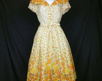 Vintage White Orange Yellow Green Floral Print Day Dress Misses S Nelly Don 50s