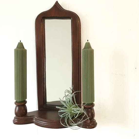 vintage wooden double candle holder - wall mirror with shelf - candle sconce - boho plant curio display shelf