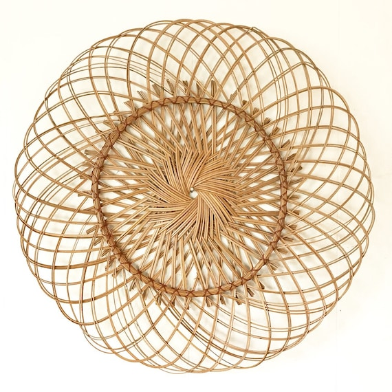 large wicker wall medallion - shallow round basket tray - boho farmhouse - basket gallery wall