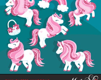 Pink Glitter Unicorn Clipart. Summer graphics, party printables, digitized embroidery, planner stickers, fairy tale graphics, illustration