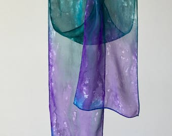 Hand Painted Silk Chiffon Blue, Green, Purple Scarf, Womens Fashion Accessory, Spring Scarf, Made in USA, Valentines Day Gift for Her