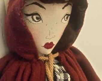 JANUARY SALE Iris - Vintage 1950s Autumnal  Rag / Cloth Doll