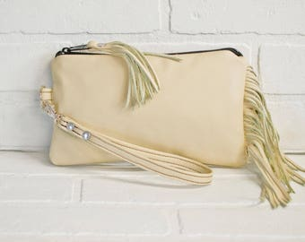 off white leather clutch, fringe clutch, wrist clutch, wristlet, phone wallet, leather tassel, make up bag, handmade, repurposed, stacylynnc