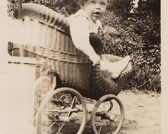 Original Vintage Photograph Snapshot Baby Boy in Wicker Buggy Stroller 1927