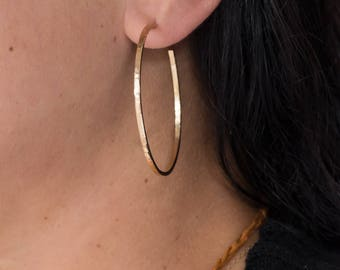 Solid gold hoop earrings, narrow 14k, custom 18k, 22k gold hoops