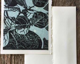Seagrape Bonsai Note card, hand-made linocut artist print, mint green hand made paper