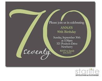 Th Birthday Invitation Champagne Glass Gold Glitter Shoes - 70th birthday invitation images
