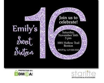 Lavender Glitter Sweet Sixteen Invitation | Sweet 16 Invitation Black and Lavender | Sweet 16 Party Invite Glitter | Printable | Printed