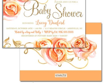 Fall Themed Baby Shower Invitations, Autumn Baby Shower Invitation, Autumn Shower Invite, Gold Glitter Floral Peach Orange Printable
