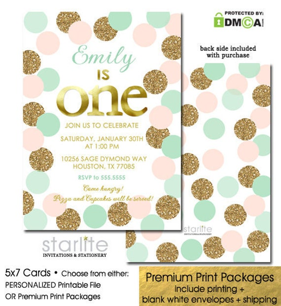 1st Birthday Invitation Girl Pink And Gold Mint