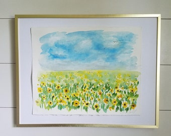 Sunflower Field - Abstract Floral Watercolor - Hand Painted Original