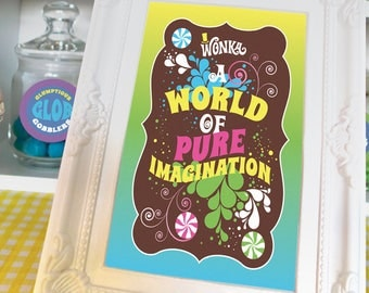 Willy Wonka quotes, images for 4x6 or 5x7 picture frames Willy Wonka party decorations DiY printable digital files MuLTiCoLoR full set