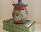 Honey Pot with Zinnias