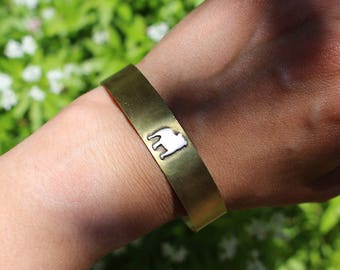 Adjustable Brass Dog Breed Silhouette Cuff Bracelet