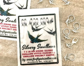 Bird stitch markers, 10 mm snag free sparrows