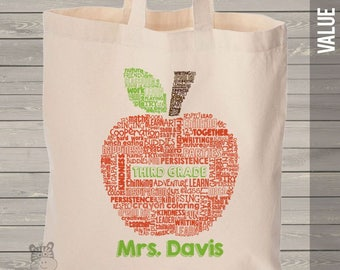 teacher tote bag - apple word collage name grade personalized teacher tote bag  MSCL-045-B