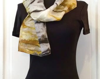 Gray and Gold Silk Scarf, 8x52 inches, Abstract Striped Scarf, Small Scarf, Narrow Scarf, Handpainted Silk