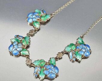 Enamel Flower Edwardian Necklace | Antique Silver Repousse Periwinkle Blue Floral Green Leaves Necklace | Forget Me Not Antique Necklace