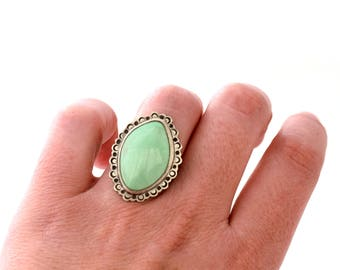 Pale Green Variscite Ring, Hand Stamped Oxidized Silver Ring, Sterling Silver Statement Ring with Stamped Border, Ring Size 7.75