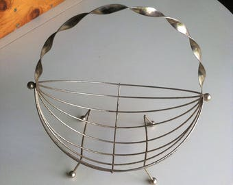 mid century gold tone metal wire fruit basket retro ball foot twisted handle basket