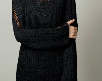 Hand Knit Woman Sweater Eco Cotton Oversized black sweater - ready to ship