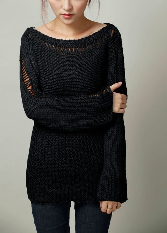 Hand Knit Woman Sweater Eco Cotton Oversized black sweater