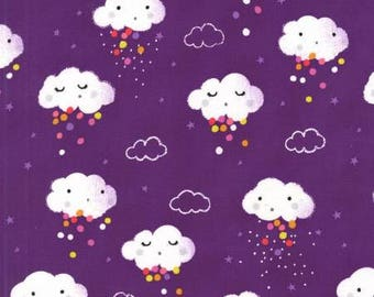 Rain Pitter Pat Showery Purple - Michael Miller - Cotton Woven fabric by the yard