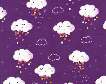 Rain Pitter Pat Showery Purple - Michael Miller - Cotton Woven fabric by the yard