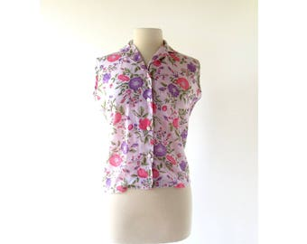60s Sleeveless Blouse | Plum Peony | Floral Blouse | S M