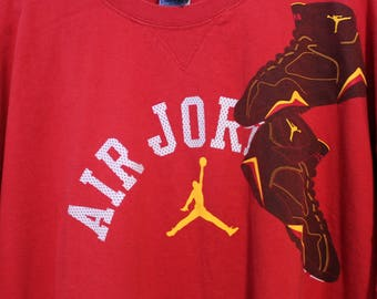 1990s Air Jordan Shirt, Red Athletic Tennis Shoe Shoulder, Basketball Shoes T Shirt Sz XXL (2X)