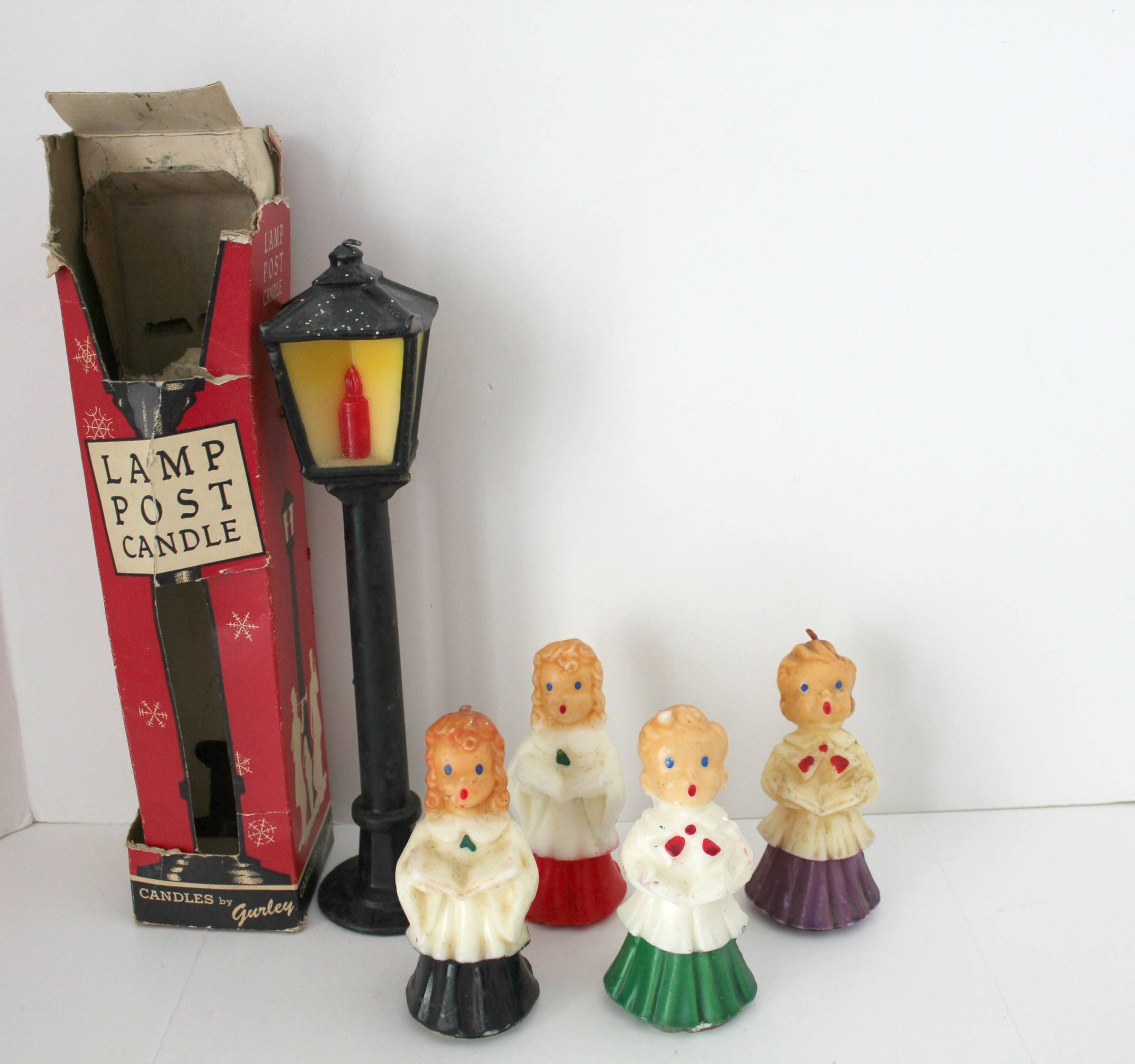 Vintage Ceramic Christmas Carolers Choir Boy And Girl: Vintage Large Lamp Post Gurley Candle With 4 Christmas