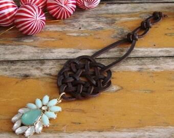 Celtic Knot Christmas Decoration with Jewel Pendant -- Tree Ornament, Spanish leather, Festive Sparkle, One of a Kind