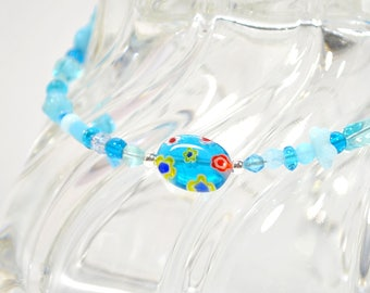 Boho Ankle Bracelet Light Blue Anklet Hippy Anklet Bohemian Foot Jewelry Beaded Anklet Boho Jewelry 9 inch Anklet Unbreakable