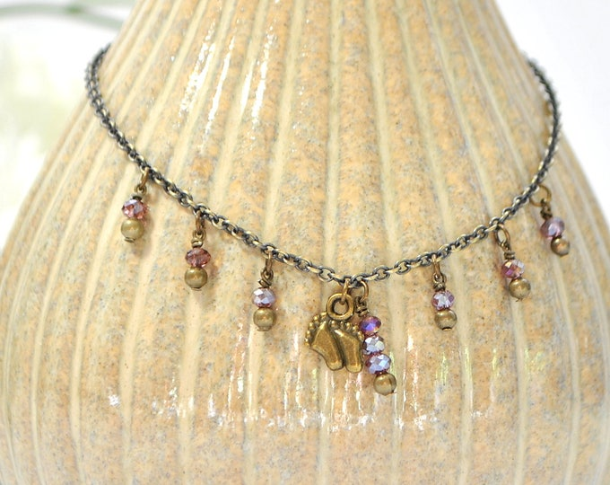 Charm Anklet Beach Ankle Bracelet Hang Ten Charm Anklet Beach Ankle Bracelet Purple Bronze Barefoot Charm Anklet Handmade Anklet