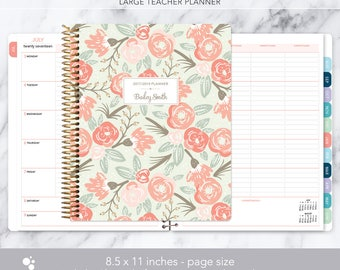 teacher planner 8.5x11 | 2017-2018 lesson plan | weekly teacher planner | personalized teacher planbook | sage pink gold floral