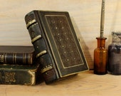 "Brown Leather Journal with Metal Decoration, Small mysterious book, ""The Jewel"" . One of a kind."