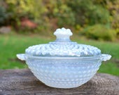 1940s Vintage Moonstone Candy Dish with Cover, Anchor Hocking