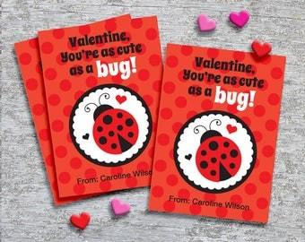 Personalized Classroom Valentine Cards for Kids – DIY Printable – Ladybug (Digital File)